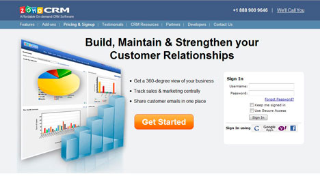 Zoho CRM screenshot