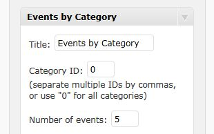 Events widget with Category ID option