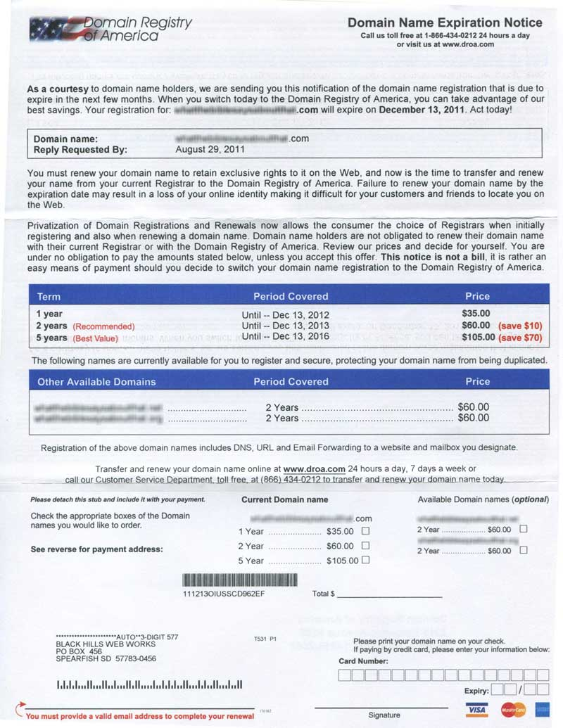 "Domain Registry of America ""Domain Name Expiration Notice"" letter"