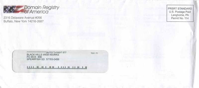 Domain Registry of America envelope
