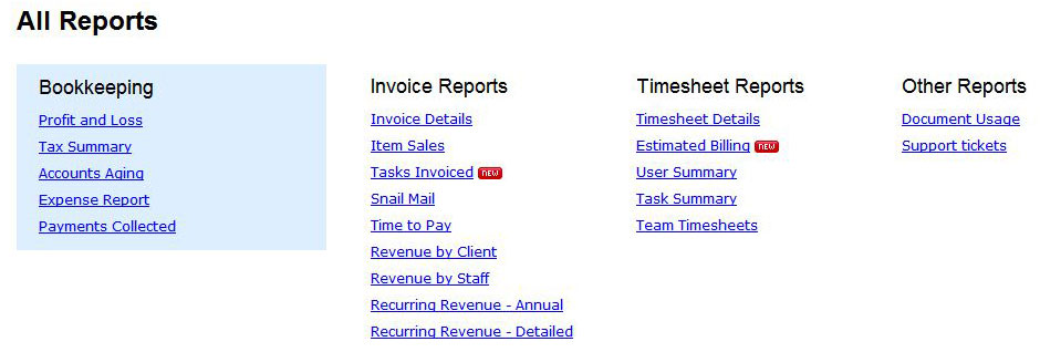 FreshBooks reports screenshot