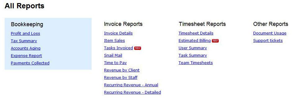 FreshBooks reports screenshot