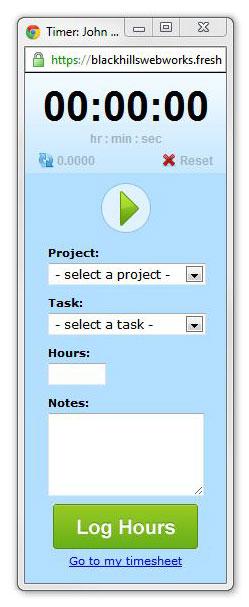 FreshBooks timer screenshot