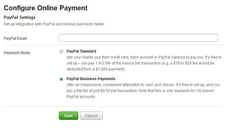 Harvest PayPal settings