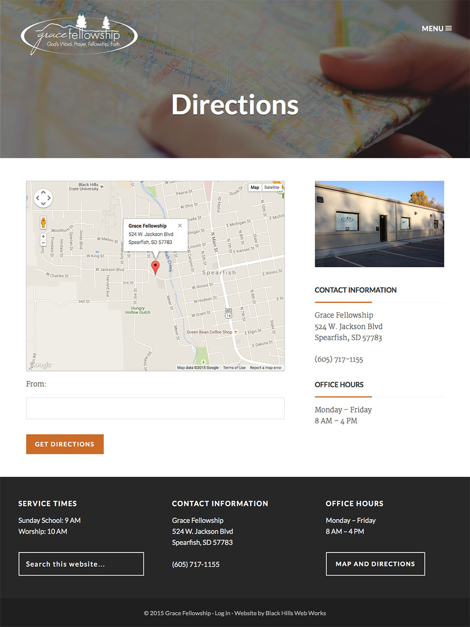 Grace Fellowship Directions page