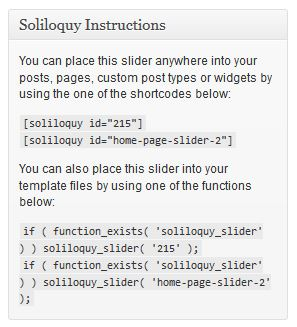 Soliloquy Instructions metabox screenshot