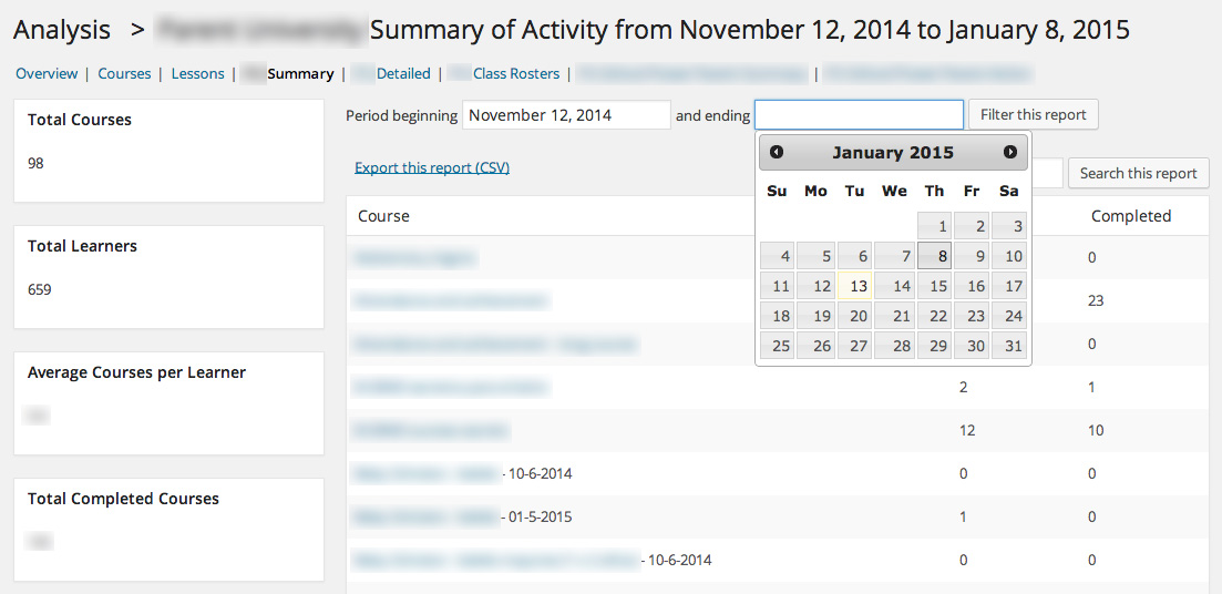 Sensei custom reports filtered by date